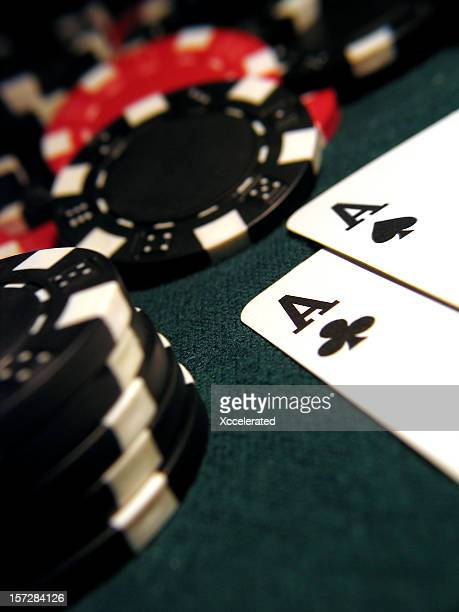 pocket aces - texas hold 'em stock photos and pictures