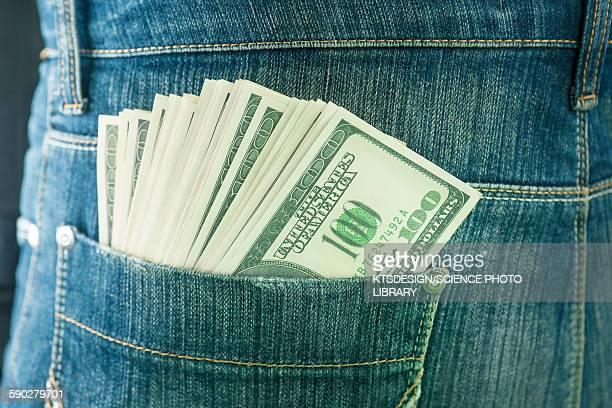 Pocket containing 100 US dollar banknotes