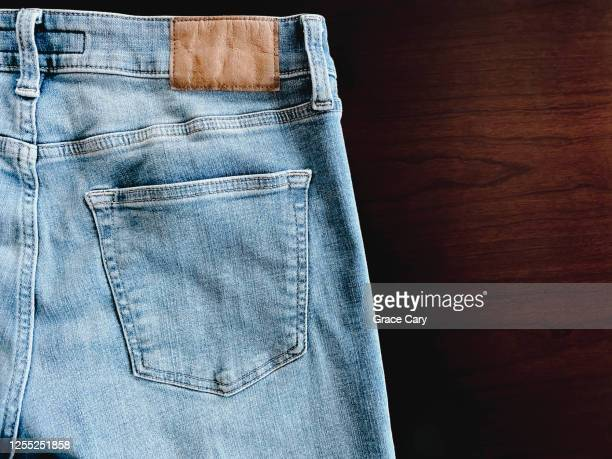 pocket detail on blue jeans - denim stock pictures, royalty-free photos & images