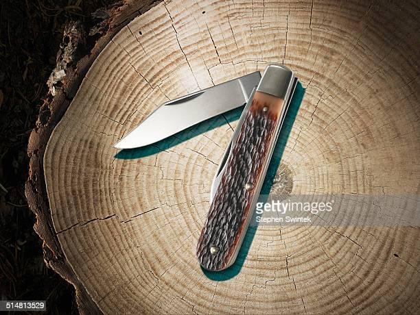 pocket knife on a stump