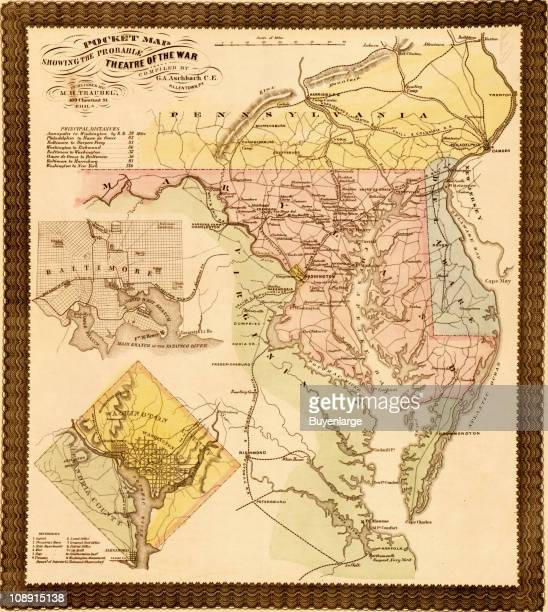 A pocket map showing the probable theater of war 1861 Includes the states of Maryland Delaware and parts of Pennsylvania and Virginia Illustration by...