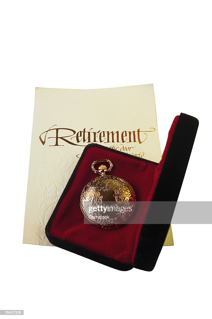 Pocket watch and retirement card : Stockfoto