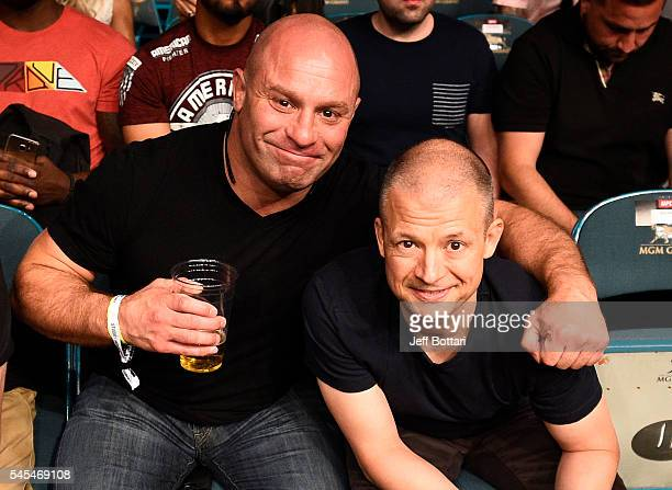 UFC podcast hosts Matt Serra and Jim Norton attend the UFC Fight Night event inside the MGM Grand Garden Arena on July 7 2016 in Las Vegas Nevada