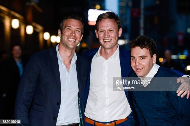 """Podcasters Jon Favreau, Tommy Vietor, and Jon Lovett leave the """"The Late Show With Stephen Colbert"""" taping at the Ed Sullivan Theater on April 05,..."""