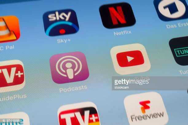 Podcasts, YouTube and other video streaming Apps on iPad screen