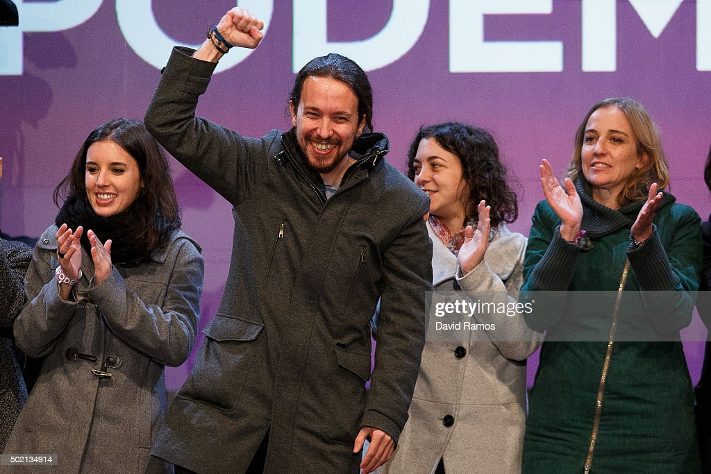 Podemos (We Can) leader Pablo Iglesias (2L) acknowledges his supporters after learning the final general elections results at Hotel Eurobuilding on December 20, 2015 in Madrid, Spain. Spaniards went to the polls today to vote for 350 members of the parliament and 208 senators. For the first time since 1982, the two traditional Spanish political parties, right-wing Partido Popular (People's Party) and centre-left wing Partido Socialista Obrero Espanol PSOE (Spanish Socialist Workers' Party), held a tight election race with two new contenders, Ciudadanos (Citizens) and Podemos (We Can) attracting right-leaning and left-leaning voters respectively.