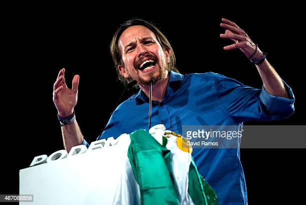 Podemos leader Pablo Iglesias delivers his speech during a political campaign rally on March 20 2015 in Sevilla Spain Podemos the antiausterity...
