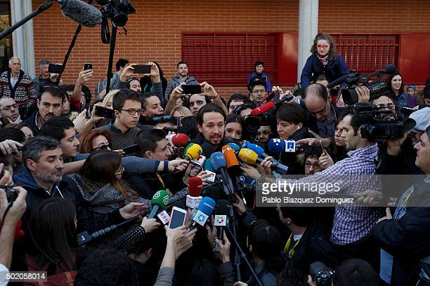 Podemos leader Pablo Iglesias speak to the press after casting his vote at a polling station on December 20 2015 in Madrid Spain Spaniards went to...