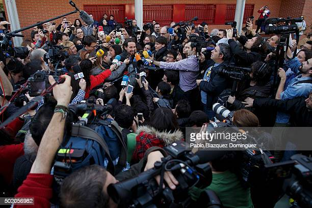Podemos leader Pablo Iglesias speaks to the press after casting his vote at a polling station on December 20 2015 in Madrid Spain Spaniards went to...