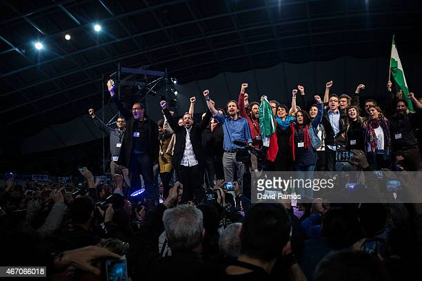 Podemos leader Pablo Iglesias waves to his supporters among the rest of Podemos leaders at the end of a political campaign rally on March 20 2015 in...