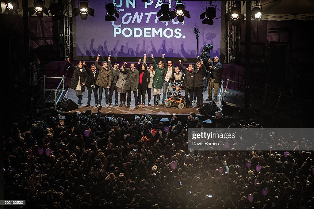 Podemos (We Can) leaders acknowledge their supporters on December 21, 2015 in Madrid, Spain. Spaniards went to the polls today to vote for 350 members of the parliament and 208 senators. For the first time since 1982, the two traditional Spanish political parties, right-wing Partido Popular (People's Party) and centre-left wing Partido Socialista Obrero Espanol PSOE (Spanish Socialist Workers' Party), held a tight election race with two new contenders, Ciudadanos (Citizens) and Podemos (We Can) attracting right-leaning and left-leaning voters respectively.