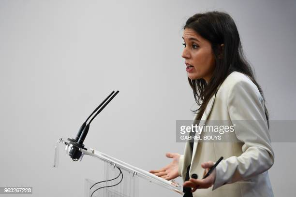 Podemos parliamentary spokeswoman Irene Montero gives a press conference in Madrid on May 28 2018 Spain's farleft party Podemos said its leader has...
