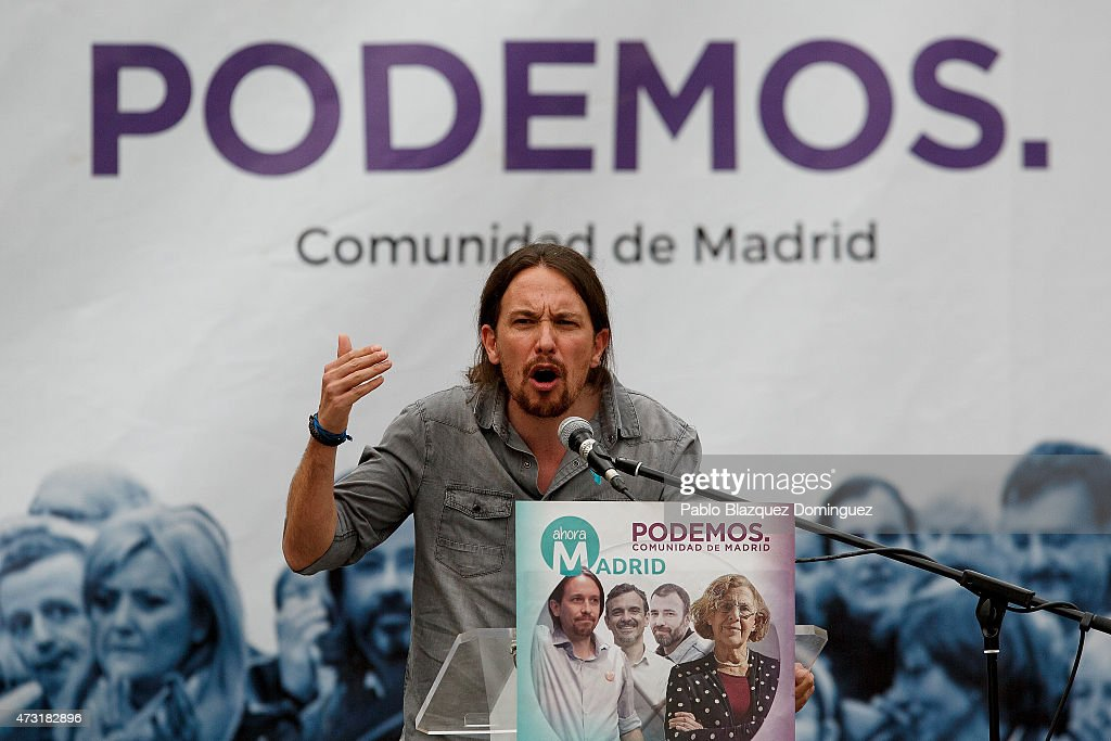 Pablo Iglesias Of Podemos Political Party Attends An Election Rally In Madrid