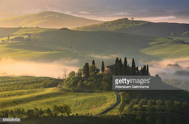 podere belvedere - tuscany stock pictures, royalty-free photos & images
