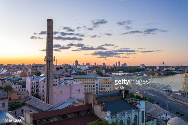 District de Podil soir, Kiev, Ukraine.