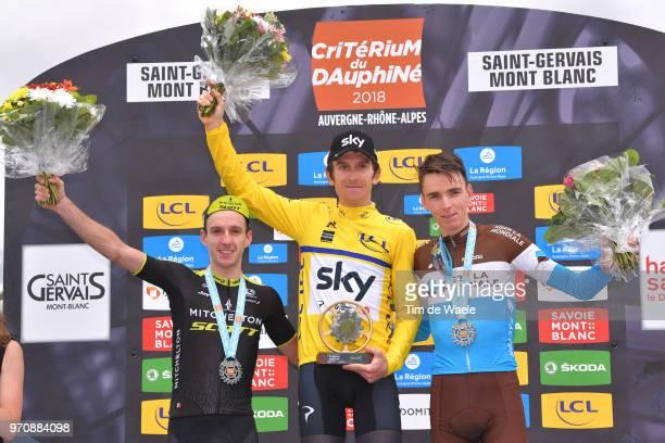 Podium / Adam Yates of Great Britain and Team MitcheltonScott / Geraint Thomas of Great Britain and Team Sky Yellow Leader Jersey / Romain Bardet of...