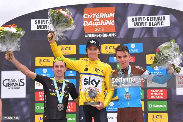 Podium / Adam Yates of Great Britain and Team Mitchelton-Scott / Geraint Thomas of Great Britain and Team Sky Yellow Leader Jersey / Romain Bardet of...