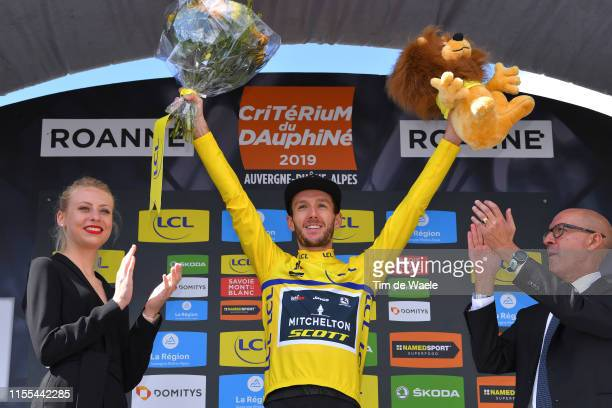 Podium / Adam Yates of Great Britain and Team Mitchelton-Scott Yellow Leader Jersey / Celebration / Lion Mascot / during the 71st Criterium du...