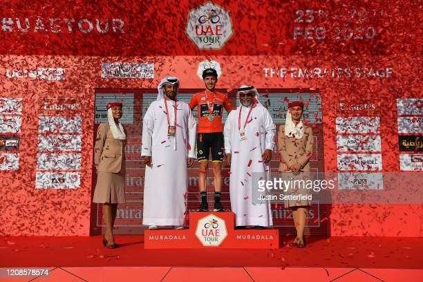 Podium / Adam Yates of The United Kingdom and Team Mitchelton - Scott Red Leader Jersey / Celebration / Miss / Hostess / during the 6th UAE Tour...