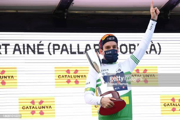 Podium / Adam Yates of United Kingdom and Team INEOS Grenadiers Green Leader Jersey Celebration, during the 100th Volta Ciclista a Catalunya 2021,...