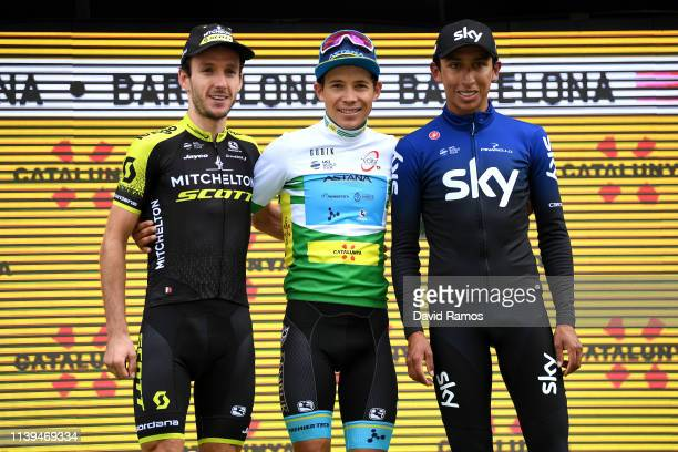 Podium / Adam Yates of United Kingdom and Team Mitchelton - Scott / Miguel Angel Lopez of Colombia and Astana Pro Team Green Leader Jersey / Egan...
