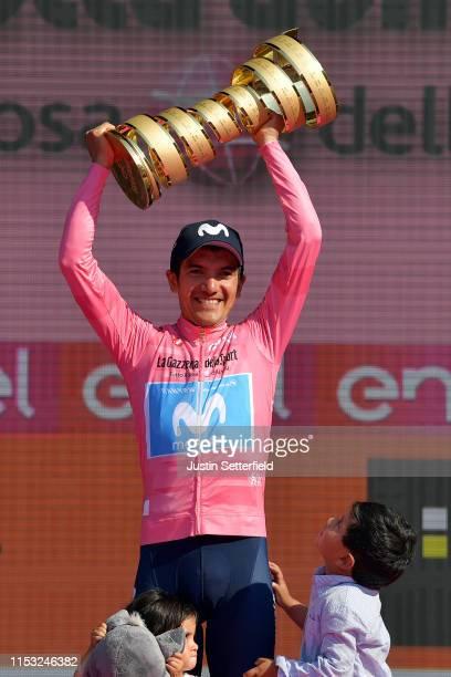 Podium / Aimy Sofía Carapaz of Ecuador Daughter / Richard Carapaz of Ecuador and Movistar Team Pink Leader Jersey / Richard Santiago Carapaz of...