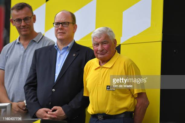 Podium / Albert II Prince of Monaco / Raymond Poulidor of France Ex Pro cyclist / during the 106th Tour de France 2019 Stage 1 a 1945km stage from...