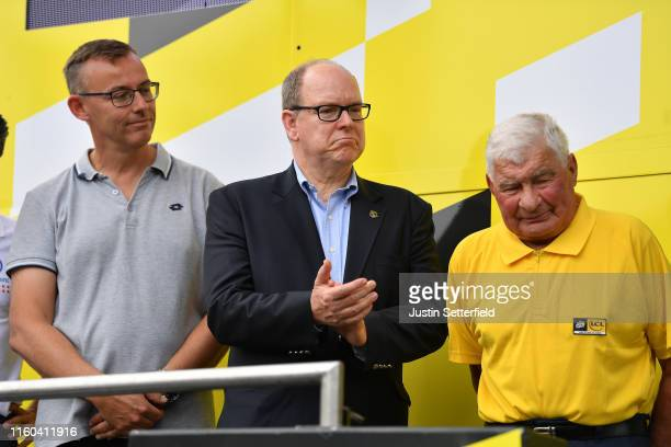 Podium / Albert II Prince of Monaco / Raymond Poulidor of France Ex Pro cyclist / Celebration / during the 106th Tour de France 2019 Stage 1 a 1945km...