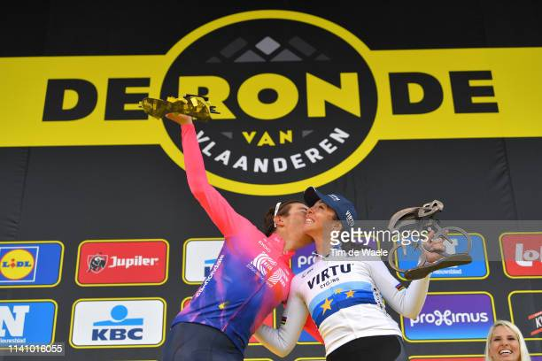 Podium / Alberto Bettiol of Italy and Team Ef Education First / Marta Bastianelli of Italy and Team Virtu Cycling European Champion Jersey /...