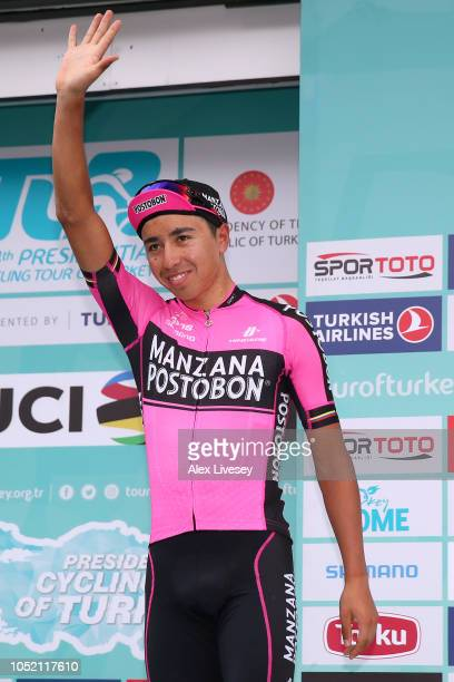 Podium / Aldemar Reyes Ortega of Colombia and Manzana Postobon Team / 2nd Best Mountain Rider / Celebration / Trophy / during the54th Presidential...