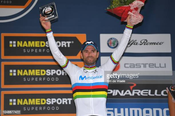 Podium / Alejandro Valverde Belmonte of Spain and Movistar Team / Celebration / during the 99th Milano Torino 2018 a 200km race from MagentaMilan to...
