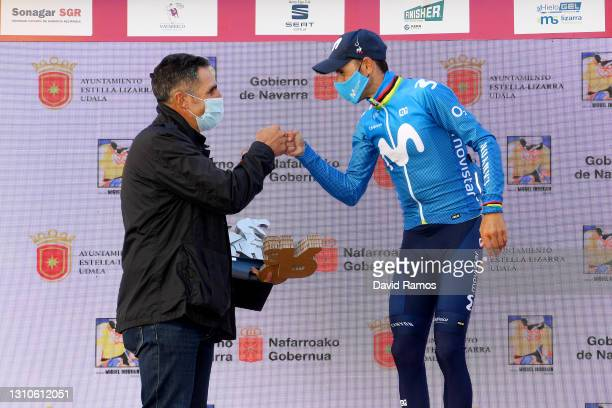 Podium / Alejandro Valverde Belmonte of Spain and Movistar Team & Miguel Induráin of Spain Ex-procyclist and 5 times winner of Tour de France...