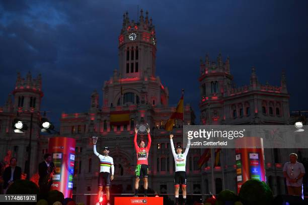 Podium / Alejandro Valverde Belmonte of Spain and Movistar Team / Primoz Roglic of Slovenia and Team Jumbo-Visma Red Leader Jersey / Tadej Pogacar of...