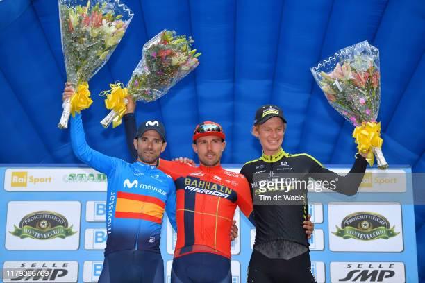 Podium / Alejandro Valverde Belmonte of Spain and Movistar Team / Sonny Colbrelli of Italy and Team Bahrain - Merida / Jack Haig of Australia and...