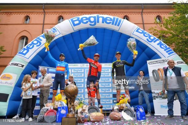 Podium / Alejandro Valverde Belmonte of Spain and Movistar Team / Sonny Colbrelli of Italy and Team Bahrain - Merida / Vittoria Colbrelli of Italy...