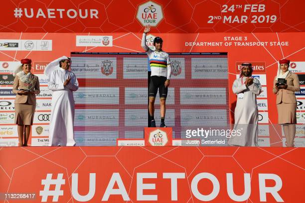Podium / Alejandro Valverde Belmonte of Spain and Movistar Team World Champion Jersey / Celebration / during the 5th UAE Tour 2019, Stage 3 a 179km...