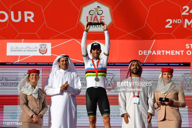 Podium / Alejandro Valverde Belmonte of Spain and Movistar Team World Champion Jersey / Celebration / Medal / Trophy / during the 5th UAE Tour 2019...