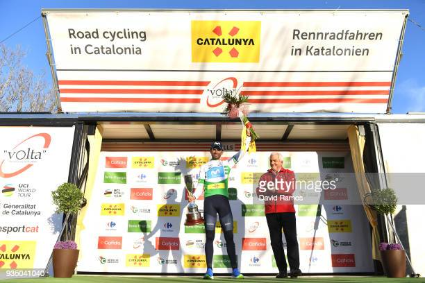 Podium / Alejandro Valverde Belmonte of Spain and Team Movistar White Leader Jersey / Celebration / Flowers / Trophy / during the 98th Volta Ciclista...