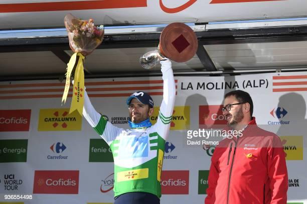 Podium / Alejandro Valverde Belmonte of Spain and Team Movistar White Leader Jersey / Celebration / during the 98th Volta Ciclista a Catalunya 2018,...