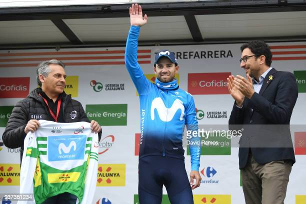 Podium / Alejandro Valverde Belmonte of Spain and Team Movistar White Leader Jersey / Celebration / Flowers / during the 98th Volta Ciclista a...