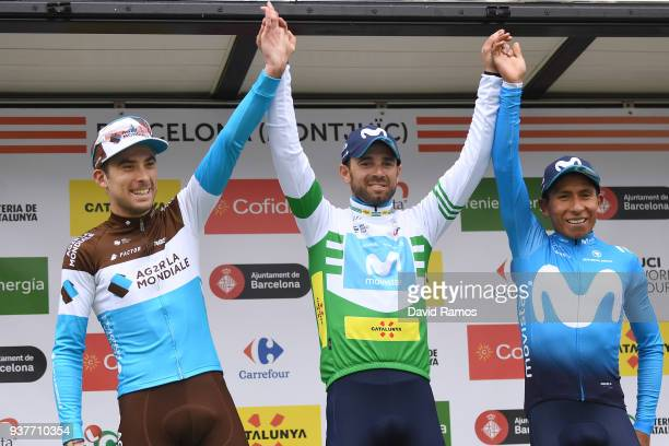 Podium / Alejandro Valverde Belmonte of Spain and Team Movistar White Leader Jersey / Nairo Quintana of Colombia and Team Movistar / Pierre Latour of...