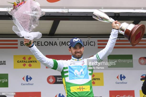 Podium / Alejandro Valverde Belmonte of Spain and Team Movistar White Leader Jersey / Celebration / Trophy / Flowers / during the 98th Volta Ciclista...