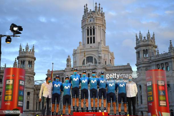 Podium / Alejandro Valverde Belmonte of Spain, Jorge Arcas Pena of Spain, Imanol Erviti of Spain, Enric Mas Nicolau of Spain White Best Young Jersey,...