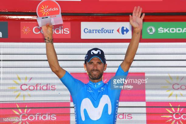 Podium / Alejandro Valverde of Spain and Movistar Team / Celebration / during the 73rd Tour of Spain 2018 Stage 2 a 1635km stage from Marbella to...