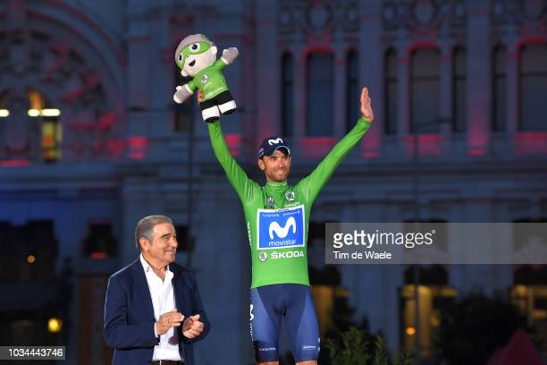 Podium / Alejandro Valverde of Spain and Movistar Team Green Points Jersey / Celebration / Madrid Town Hall / Plaza Cibeles / during the 73rd Tour of...