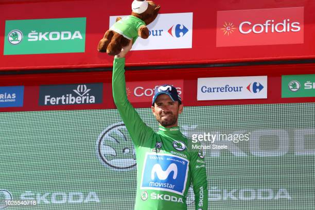 Podium / Alejandro Valverde of Spain and Movistar Team Green Sprint Jersey / Celebration / during the 73rd Tour of Spain 2018 Stage 7 a 1857km stage...