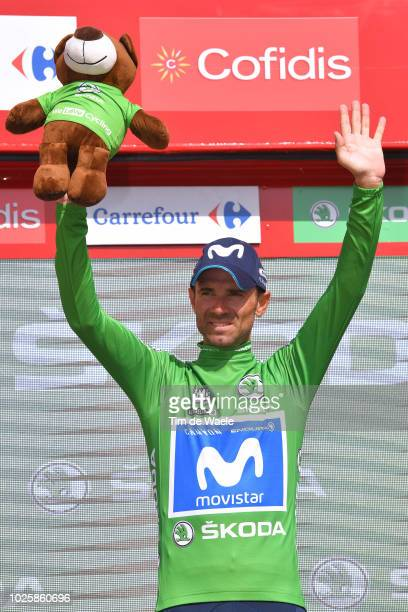 Podium / Alejandro Valverde of Spain and Movistar Team Green Sprint Jersey / Celebration / during the 73rd Tour of Spain 2018 / Stage 8 a 1951km...