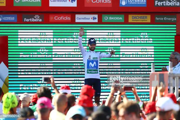 Podium / Alejandro Valverde of Spain and Movistar Team White Combined Jersey / Celebration / during the 73rd Tour of Spain 2018 Stage 2 a 1635km...