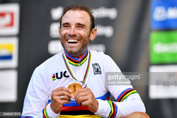 Podium / Alejandro Valverde of Spain / Celebration / during the Men Elite Road Race a 258,5km race from Kufstein to Innsbruck 582m at the 91st UCI...