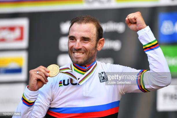 Podium / Alejandro Valverde of Spain / Celebration / during the Men Elite Road Race a 2585km race from Kufstein to Innsbruck 582m at the 91st UCI...